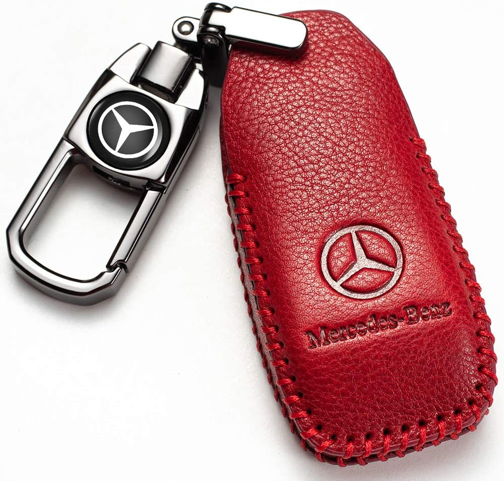 MMMM car Key Fob Cover Suit for Mercedes Benz E Class, 2018 up S Class, 2017 2018 W213 Keyless Smart gennuine Leather Key Fob case Key Holder