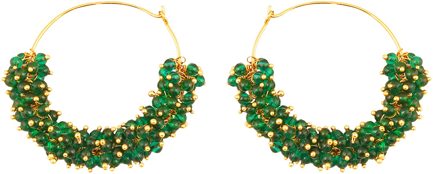 Touchstone Indian Bollywood traditional thin wire elegant and designer bali earrings with bunches of faux pearls for women in gold tone