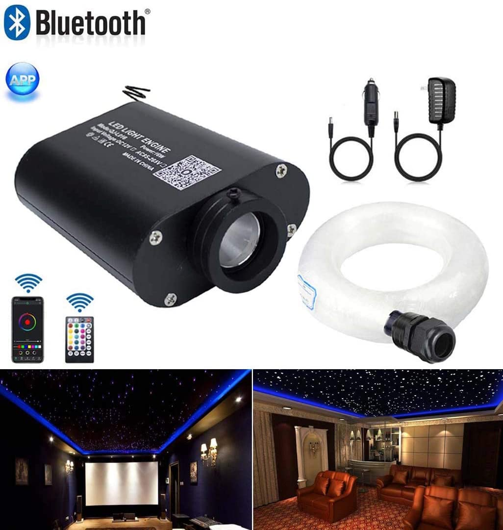 AZIMOM LED Bluetooth 16W RGBW Fiber Optic Light Star Ceiling Lighting Kits Music Mode APP Remote Control Car Home Headliner Interior Decoration 300pcs 0.03in 6.5ft