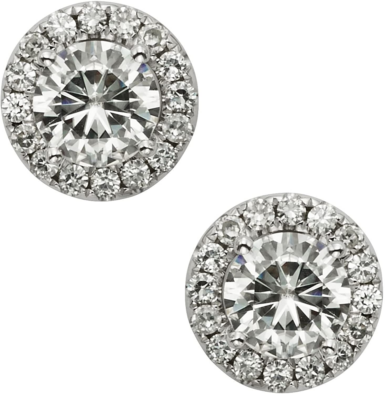 14K White Gold Moissanite by Charles & Colvard 5.5mm Round Halo Stud Earrings, 1.52cttw DEW