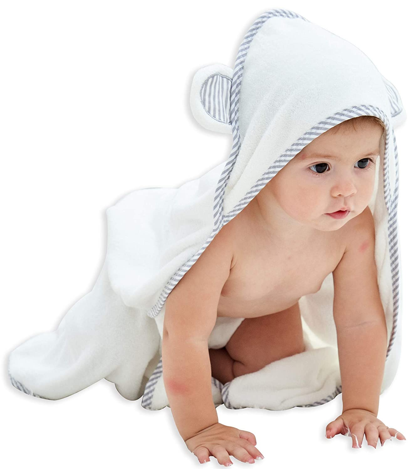 HIPHOP PANDA Bamboo Hooded Baby Towel - Softest Hooded Bath Towel with Bear Ears for Babie, Toddler,Infant - Ultra Absorbent and Hypoallergenic, Natural Baby Towel Perfect (30 × 30'', White)