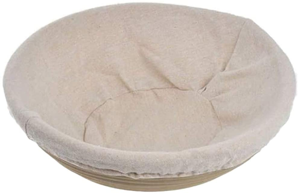 8.5 Inch Round Banneton Proofing Basket Set - Natural Rattan Baking Dough Sourdough Baskets w/Cloth Liner Sourdough Lame Bread Bowl for Professional & Home Bakers (Round Shape, 22x8cm)
