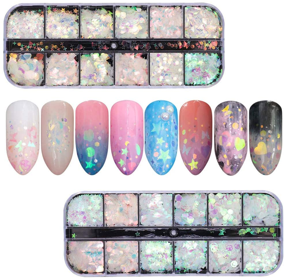 Capseat 24 Colors Holographic Nail Glitter Sequins, Iridescent Sequins Colorful Shining Nail Flakes DIY Nail Art Sticker Decals for Body Face Hair Make Up Nail Art Mixed Color Glitter