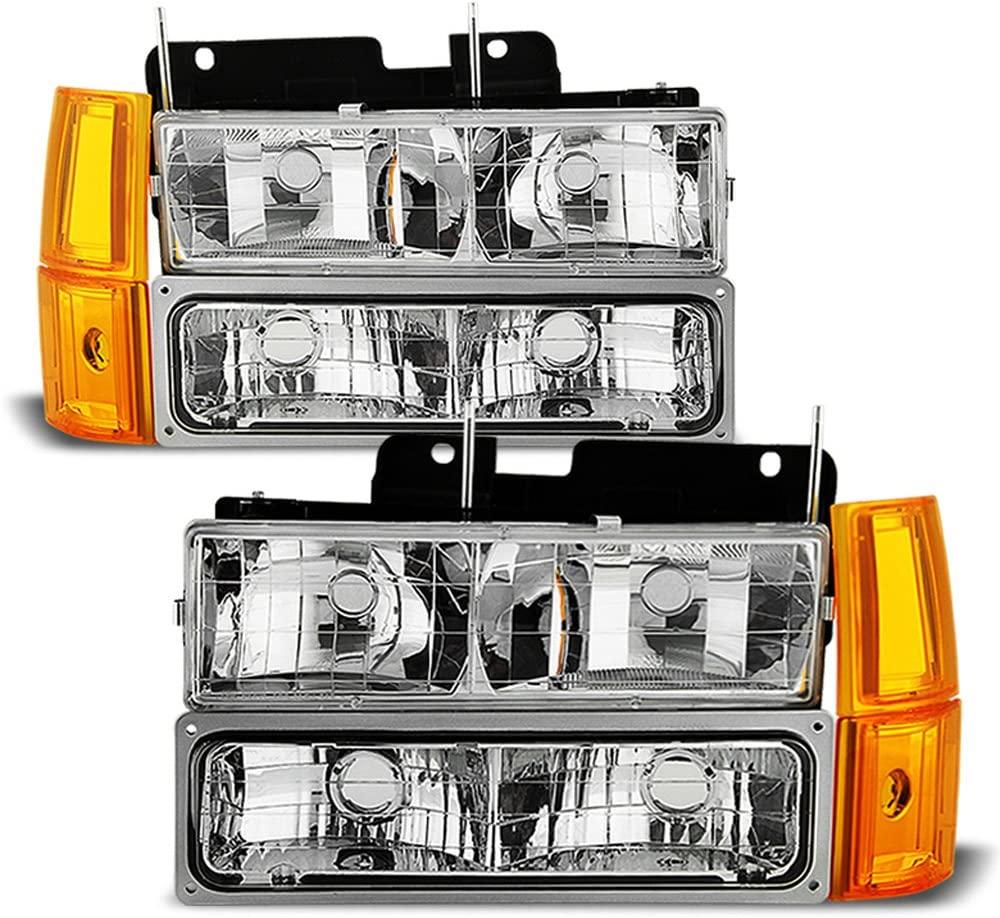 ACANII - For 1994-1998 GMC Sierra C10 Suburban Yukon Bumper+Corner+Signal Lamps+Headlights Driver + Passenger Side