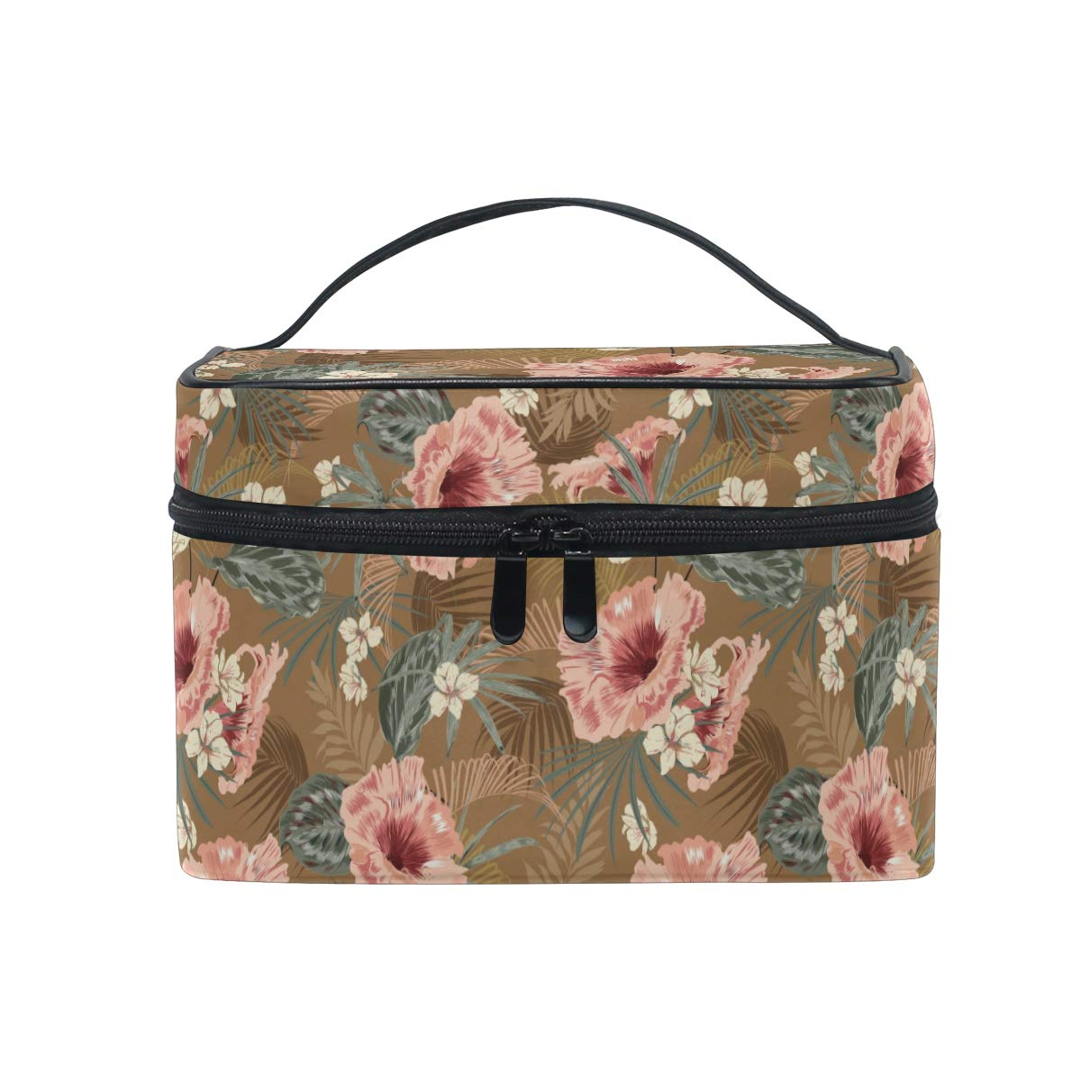 Retro Tropical Flower Leaves Women Makeup Bag Travel Cosmetic Bags Toiletry Train Case Beauty Pouch Organizer