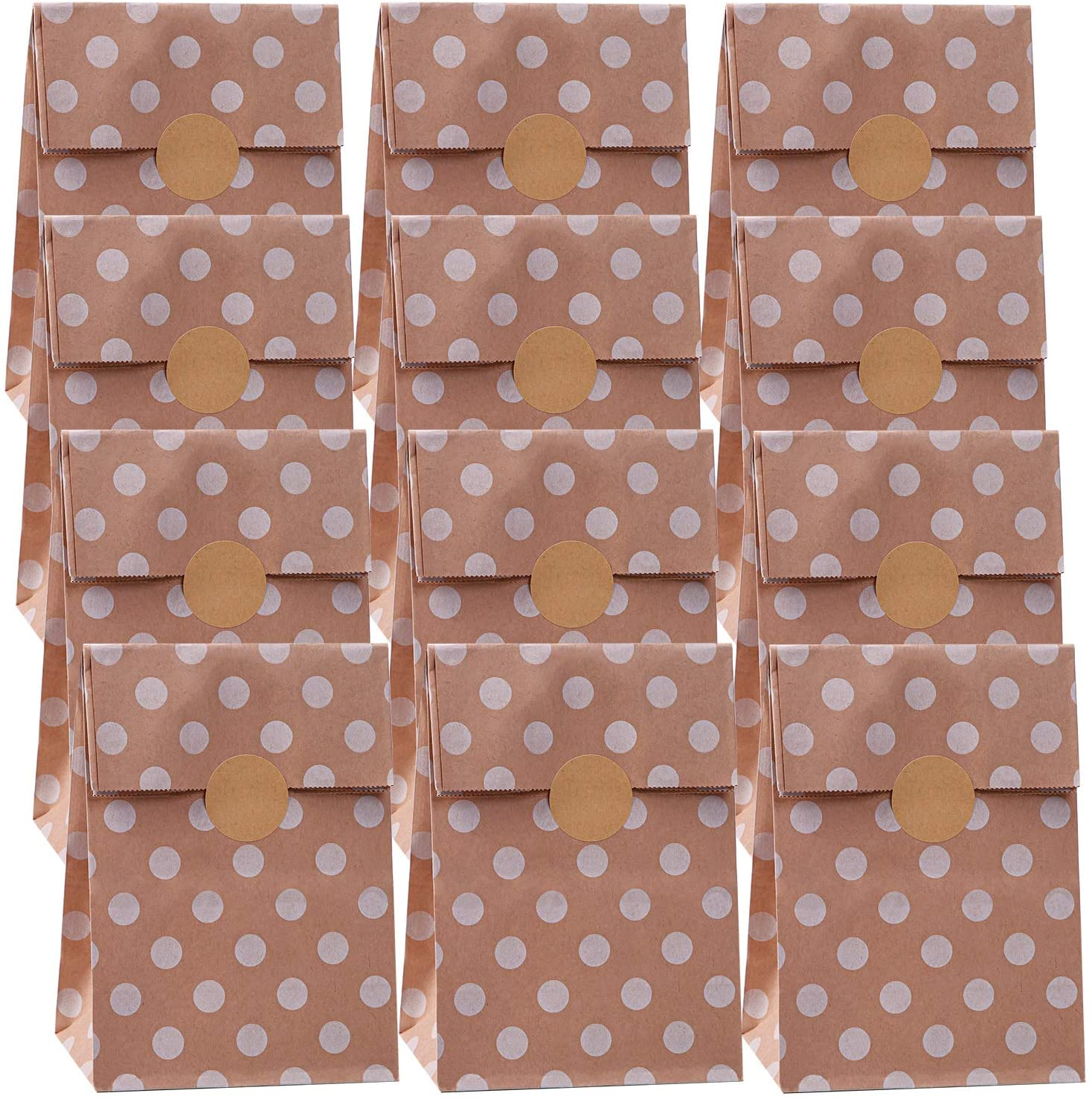 Cooraby 30 Pieces Kraft Paper Polka Dot Paper Bags Brown Paper Bags Party Gift Bags Candy Treat Bags with 36 Pieces Label Stickers for Wedding Birthday Party Favor