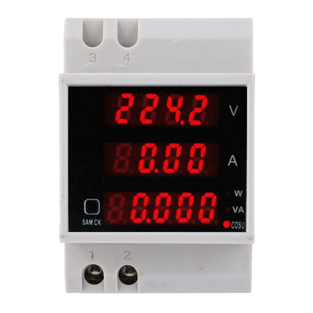 Multimeter, D52-2048 Multi-Function Meter Rail Digital Displayed AC Voltage Current Power Factor Meter Power Meter AC80~300V 100A