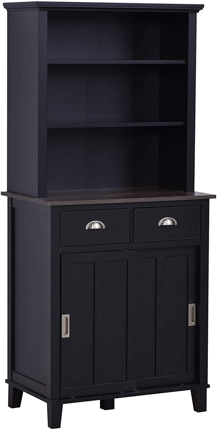 HOMCOM Freestanding Kitchen Pantry Cabinet Cupboard with Sliding Doors and Open Shelves, Adjustable Shelving, Black