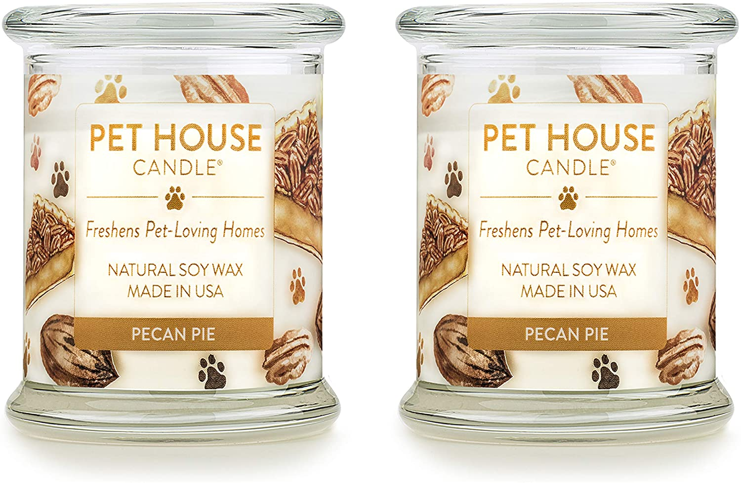 One Fur All 100% Natural Soy Wax Candle, 20 Fragrances - Pet Odor Eliminator, Up to 60 Hours Burn Time, Non-Toxic, Reusable Glass Jar Scented Candles – Pet House Candle, Pecan Pie - Pack of 2