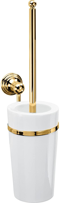 DWBA Wall Bathroom Toilet Bowl Brush & Holder Set Cleaner - Porcelain & Brass (Polished Gold)