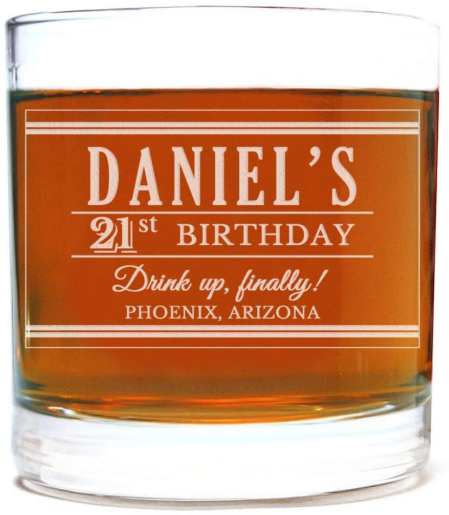 Personalized Etched 11oz Whiskey Rocks Glass for Birthday Gifts