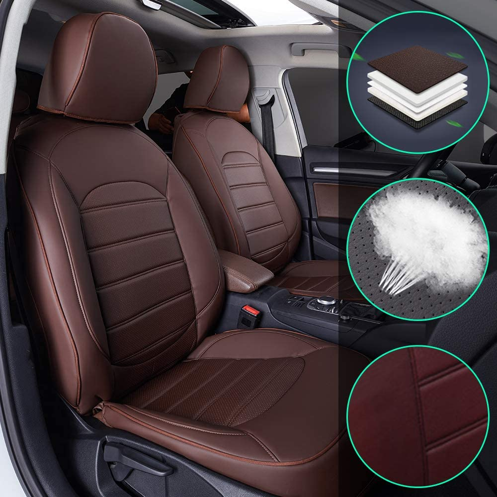 Muchkey Luxury Leather seat Covers for Dodge Journey 2013-2017 7-seat Full Set Front+Rear Cushion Airbag Compatible, Brown