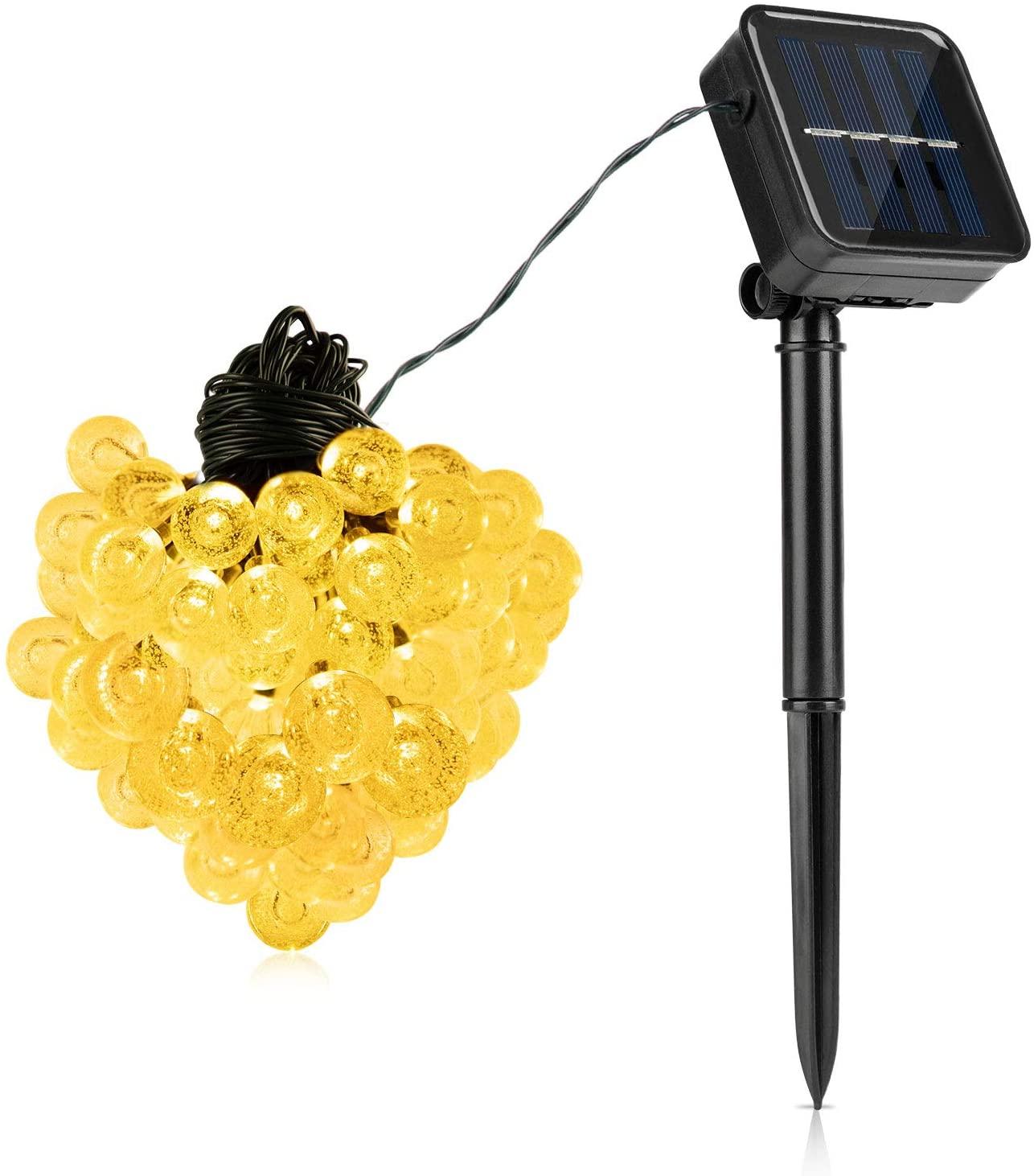 Glob Solar String Lights, 39.4ft 100 LED Outdoor Bulb String Lights,Waterproof 8 Modes Solar Patio Lights for Patio, Garden, Gazebo, Yard, Outdoors (Warm White)