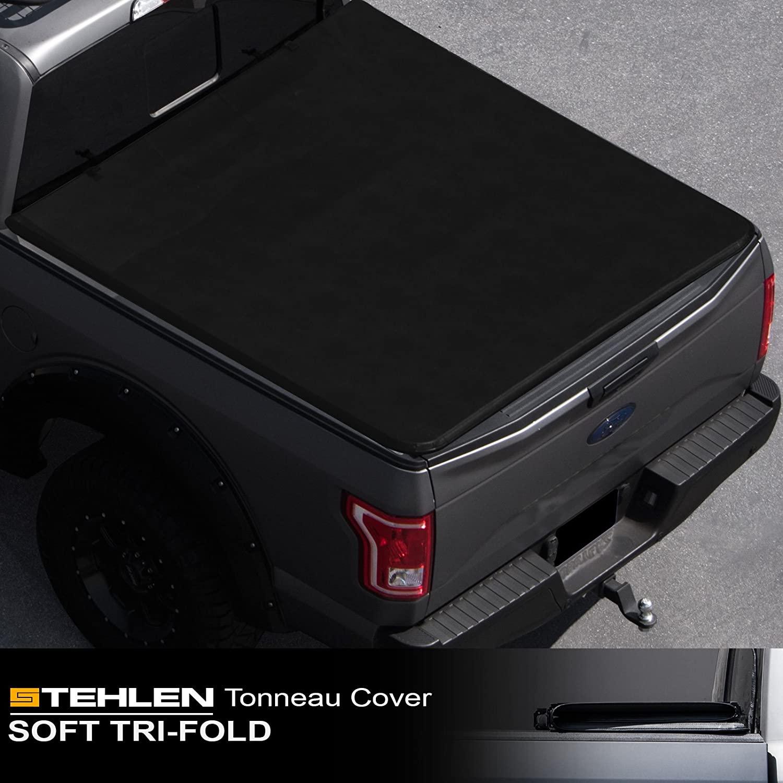 Stehlen 714937189461 Soft Tri-Fold Tonneau Cover - Black For 2014-2019 Toyota Tundra 5.5 Feet (66
