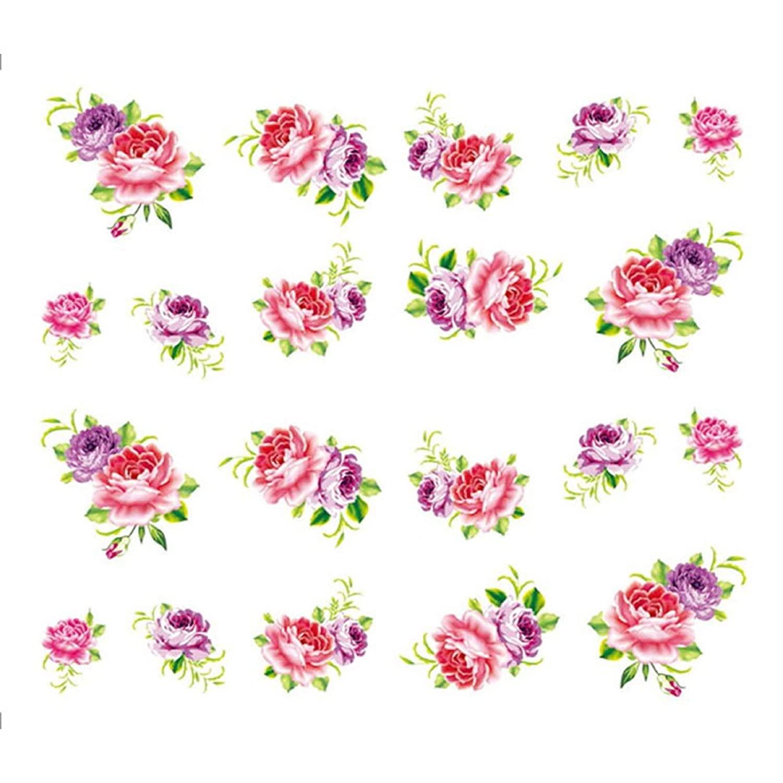 1 Sheet Flower Slider Water Transfer Nail Art Stickers Pink Rose Flower Decals Female Beauty Makeup Nail Decoration (A006)