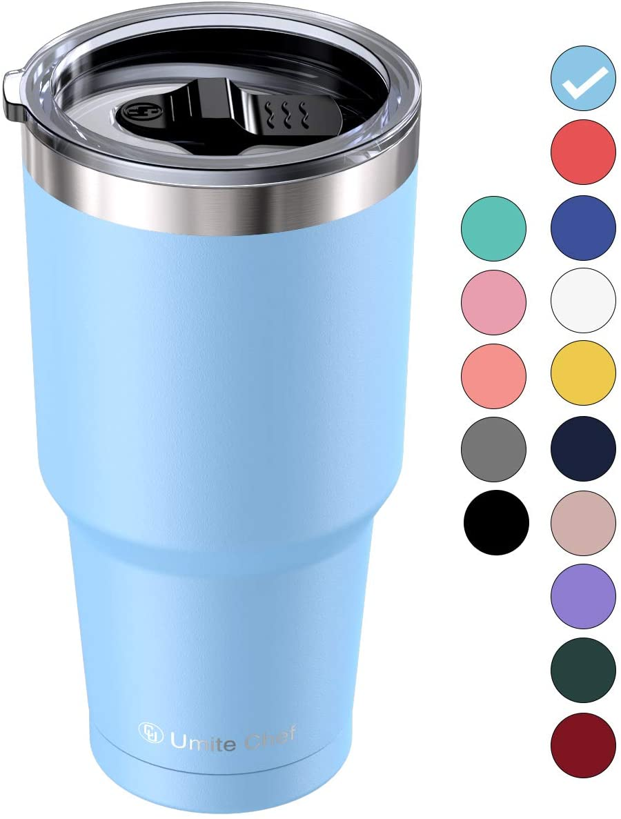 Umite Chef 30 oz Tumbler, Stainless Steel Vacuum Insulated Travel Tumbler Mug with lid, Double Wall Tumbler Coffee Mug Cup for Home, Office, Gift Box(Blue)