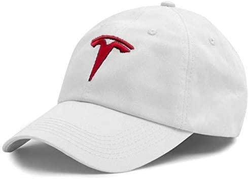 JDclubs Tesla Logo Embroidered Adjustable Baseball Caps for Men and Women Hat Travel Cap Car Racing Motor Hat (White+red)