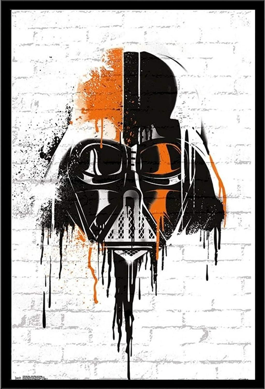 Darth Vader Mask Star Wars Art Decor Framed Print | 24x36 Premium (Canvas/Painting Like) Textured Poster | Starwars The Dark Side Figure Quality Comic Artwork | Jedi Movie Trilogy Merchandise Photo