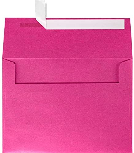 LUXPaper A6 Invitation Envelopes in 80 lb. Azalea Metallic for 4 5/8 x 6 1/4 Cards, Printable Envelopes for Invitations, with Peel & Press Seal, 1000 Pack, Envelope Size 4 3/4 x 6 1/2 (Pink)