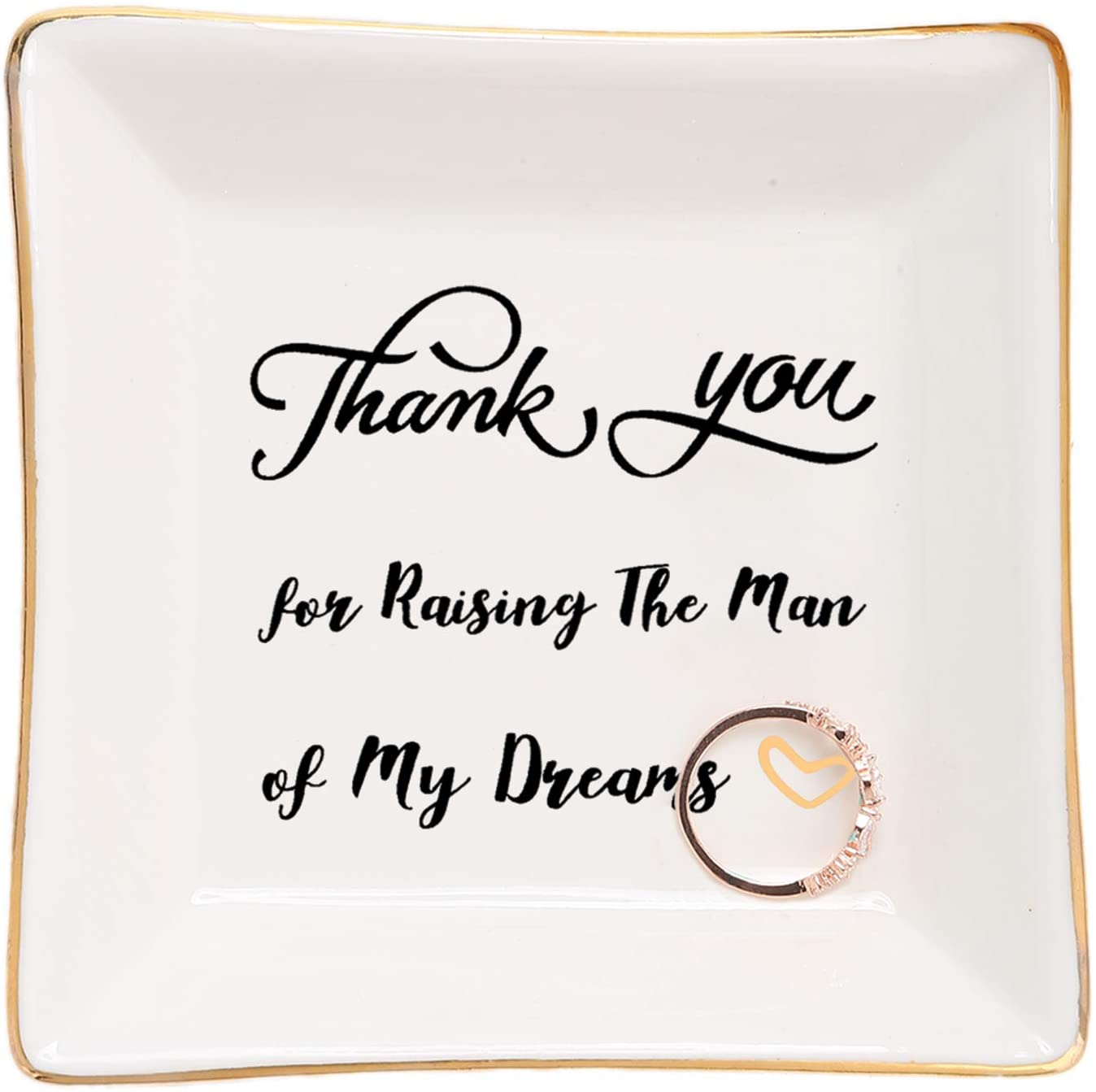 HOME SMILE Mother of Groom Gifts Ring Trinket Dish - Thank You for Raising The Man of My Dreams