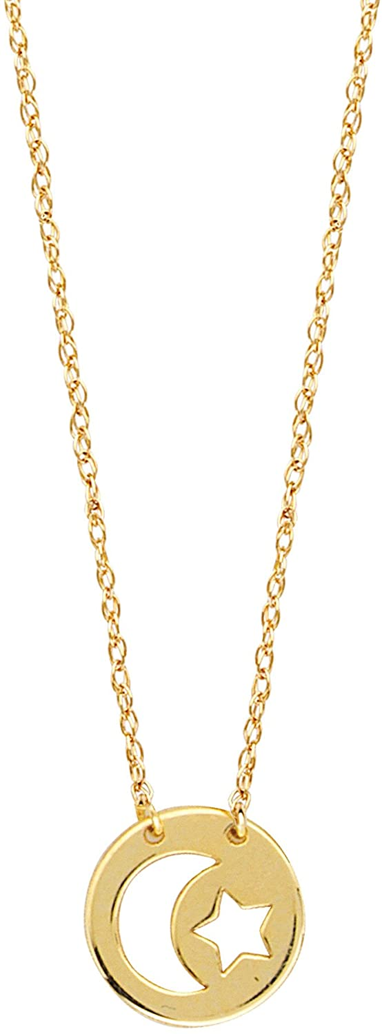 14K Yellow Gold Mini Moon And Star Pendant Necklace, 16 To 18 Inches Adjustable