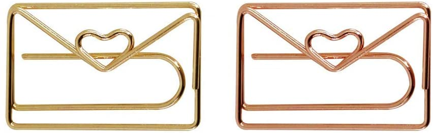 KOOBA Cute Paper Clips 20pcs Envelope Shape Rose Gold and Yellow Gold, Funny Paperclips Bookmarks Planner Clips for Fun Office Supplies School Gifts Wedding Decoration