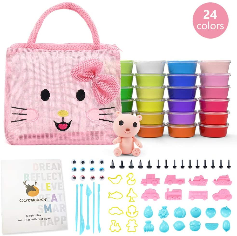 24 Colors Air Dry Clay Set for Kids, Magic Modeling Ultra Light Clay, Cute Cartoon Mesh Bag to Store Children's DIY Toys (Pink)