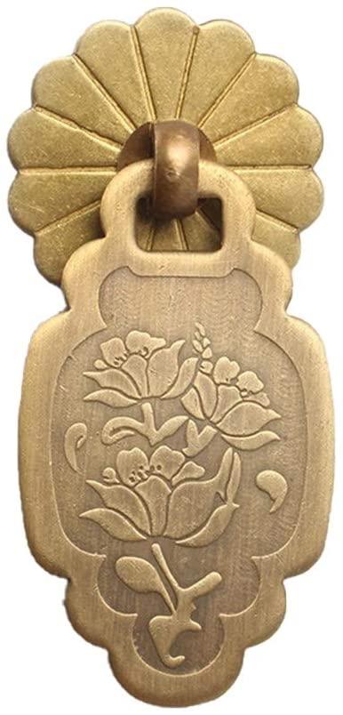 Quisilife Antique Lotus Copper Pull Handle Pure Copper Door Knocker in Medicine Cabinet (Color : Bronze, Size : S)