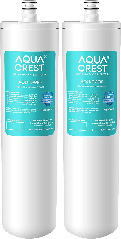 AQUACREST DW80/90 Under Sink Water Filter, Compatible with Aqua-Pure AP-DW80/90, AP-DWS1000, Kohler K-201-NA, Kohler K-202-NA (Pack of 2)