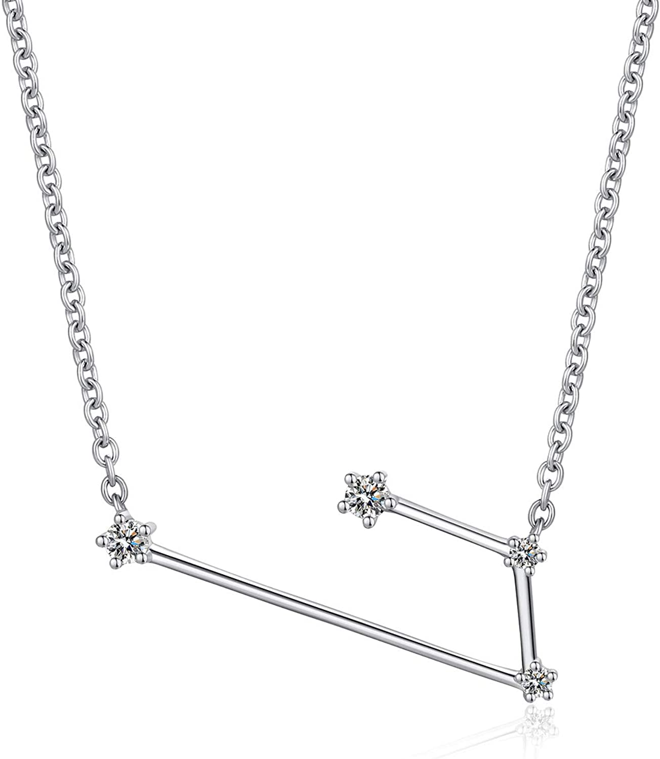 ZDaoBen Womens 12 Horoscope Necklace 925 Sterling Silver Zodiac Sign 12 Constellation Necklace Astrology Color CZ Pendant Necklace Star Necklace Birthstone Necklace Birthday Gift Chain:46cm/18