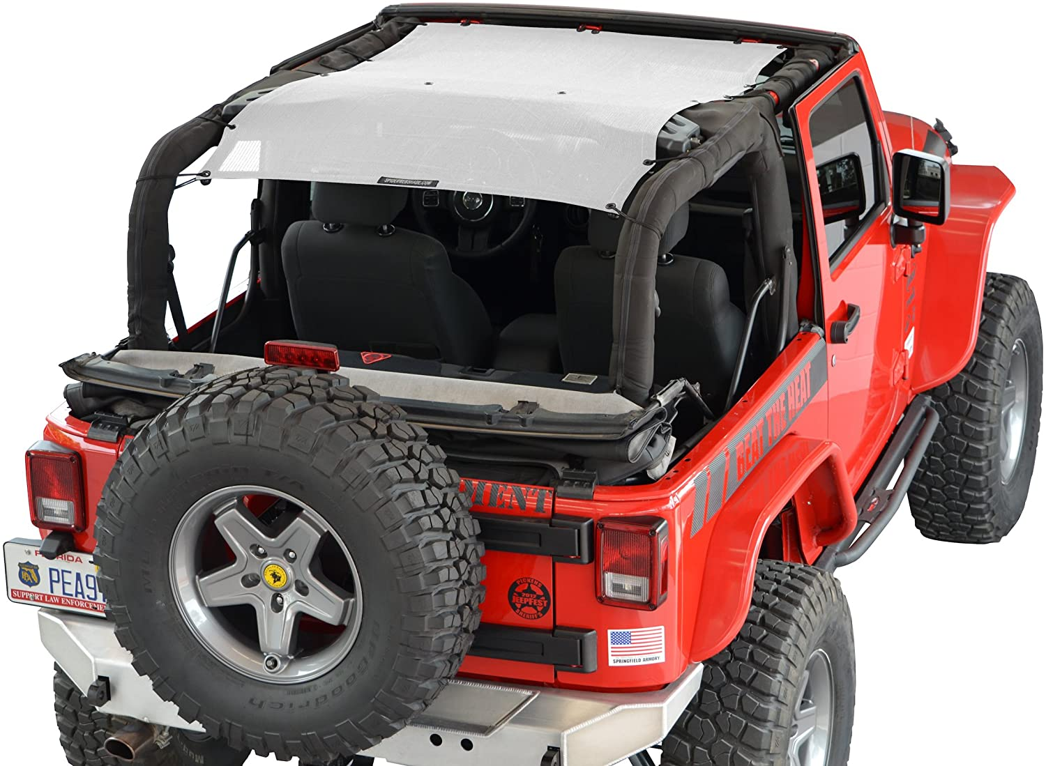 SPIDERWEBSHADE compatible with Jeep Wrangler Mesh Shade Top Sunshade UV Protection Accessory USA Made with 10 Year Warranty for Your JK 2-Door (2007-2018) in White