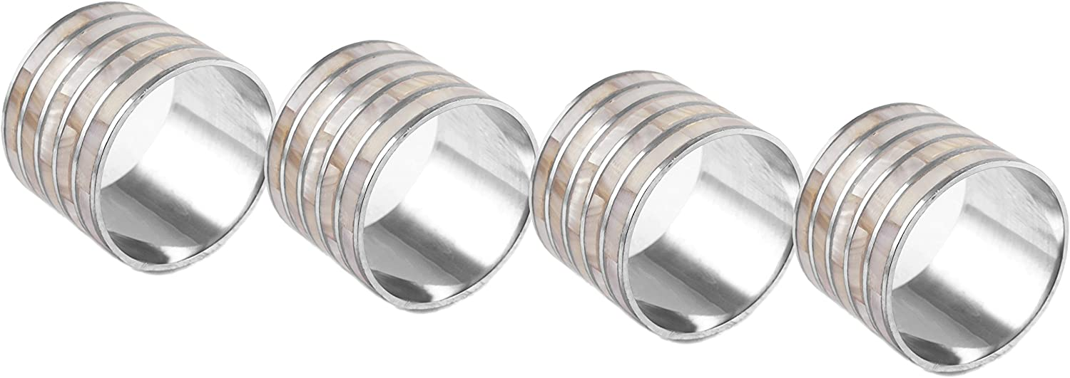 CFF Mother of Pearl Inlay Napkin Rings - Set of 4