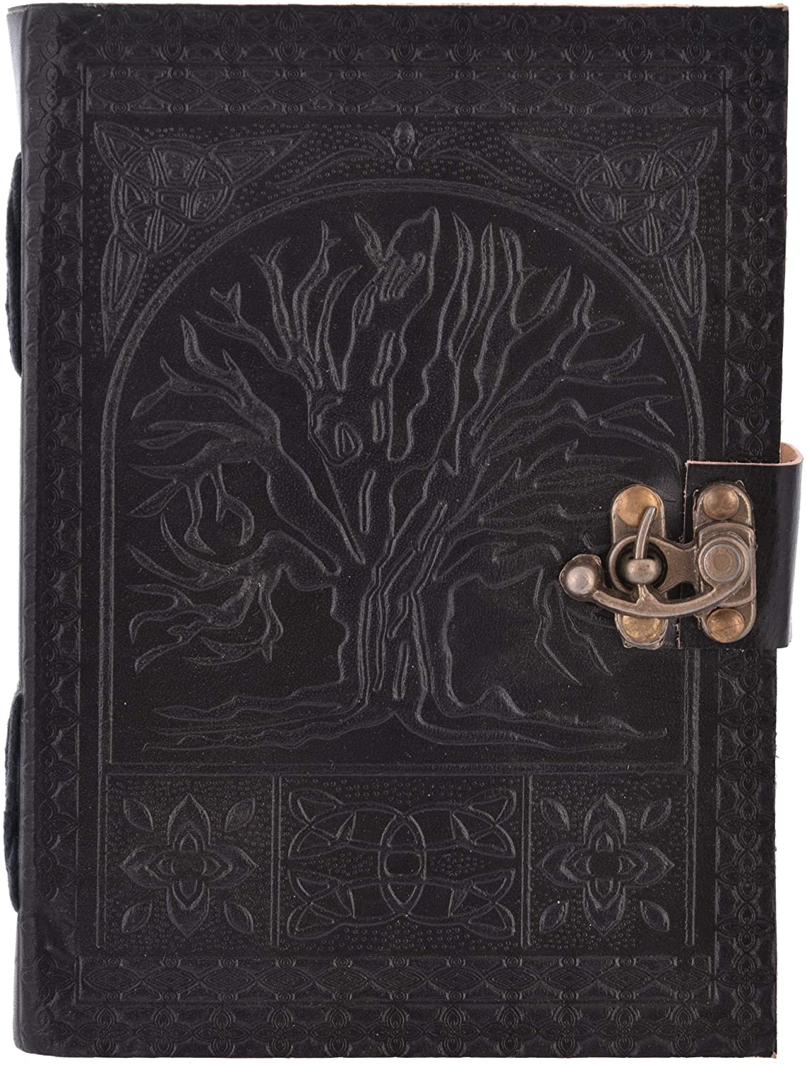 Tree of Life Embossed Leather Journal, Antique Handmade Daily Notepad for Men & Women Unlined Handmade Paper 7 x 5 Inches, Handmade Travelers Notebook, Perfect for Writing, Gifts (Tree Black)