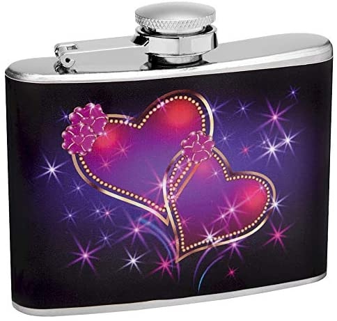 Hip Flask Gift Set with Refill Funnel and 2 Stainless Steel Shot Glasses - Sparkling Linked Hearts Design - Black Finish - 4 oz Flask - Gift Box Included