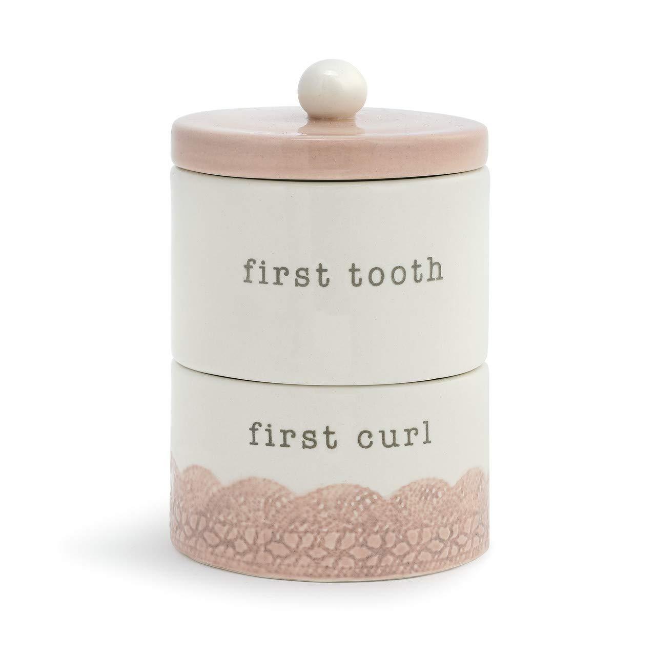 Tooth and Curl Stacking Glossy Pink 4 x 3 Ceramic Stoneware Baby Keepsake Box