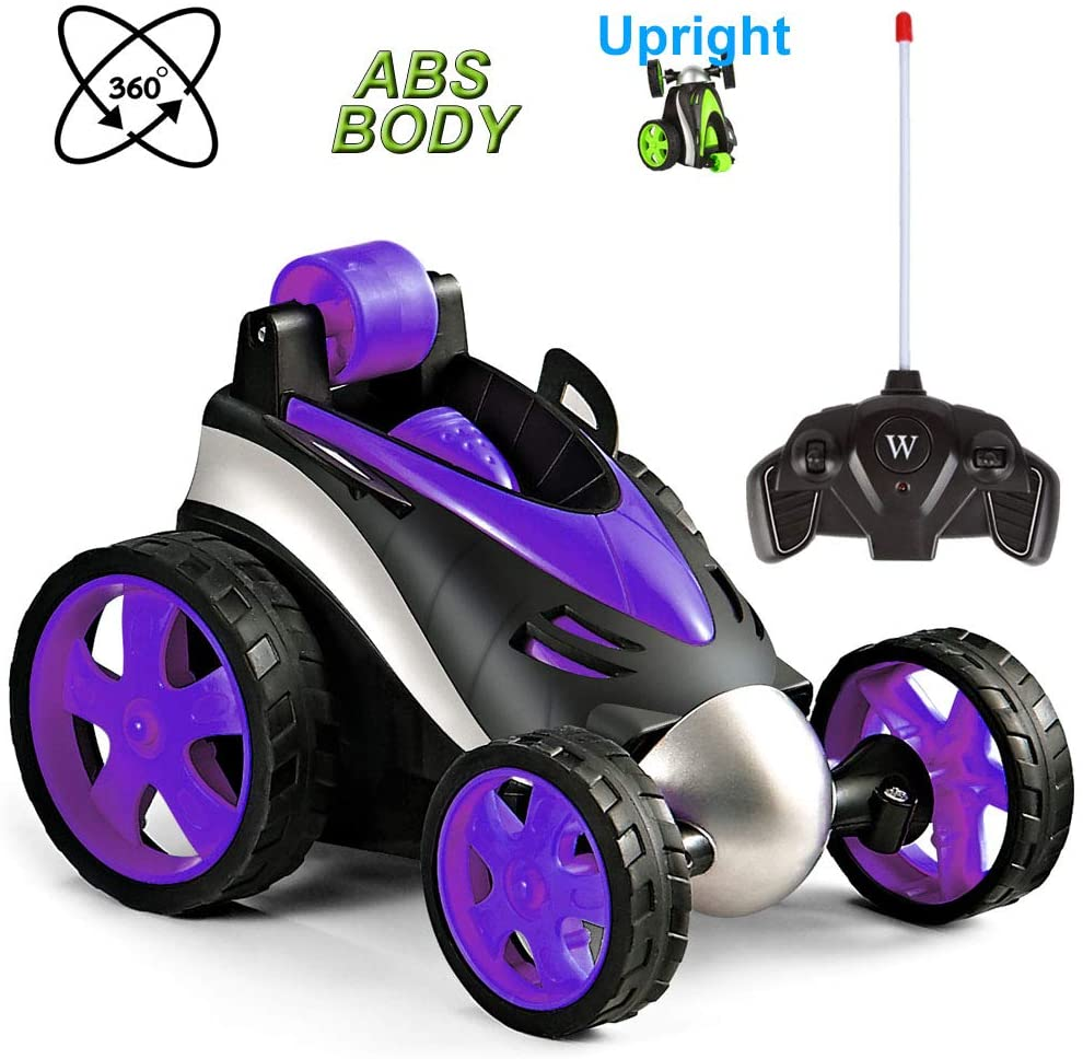 Vanskee Remote Control Car for Boys Girls,RC Stunt Car for Kids,360 Degree Rotation,Upright Driving,Safe Durable ABS Material,RC Car Birthday Gife for Child Aged 4 to 10,Purple
