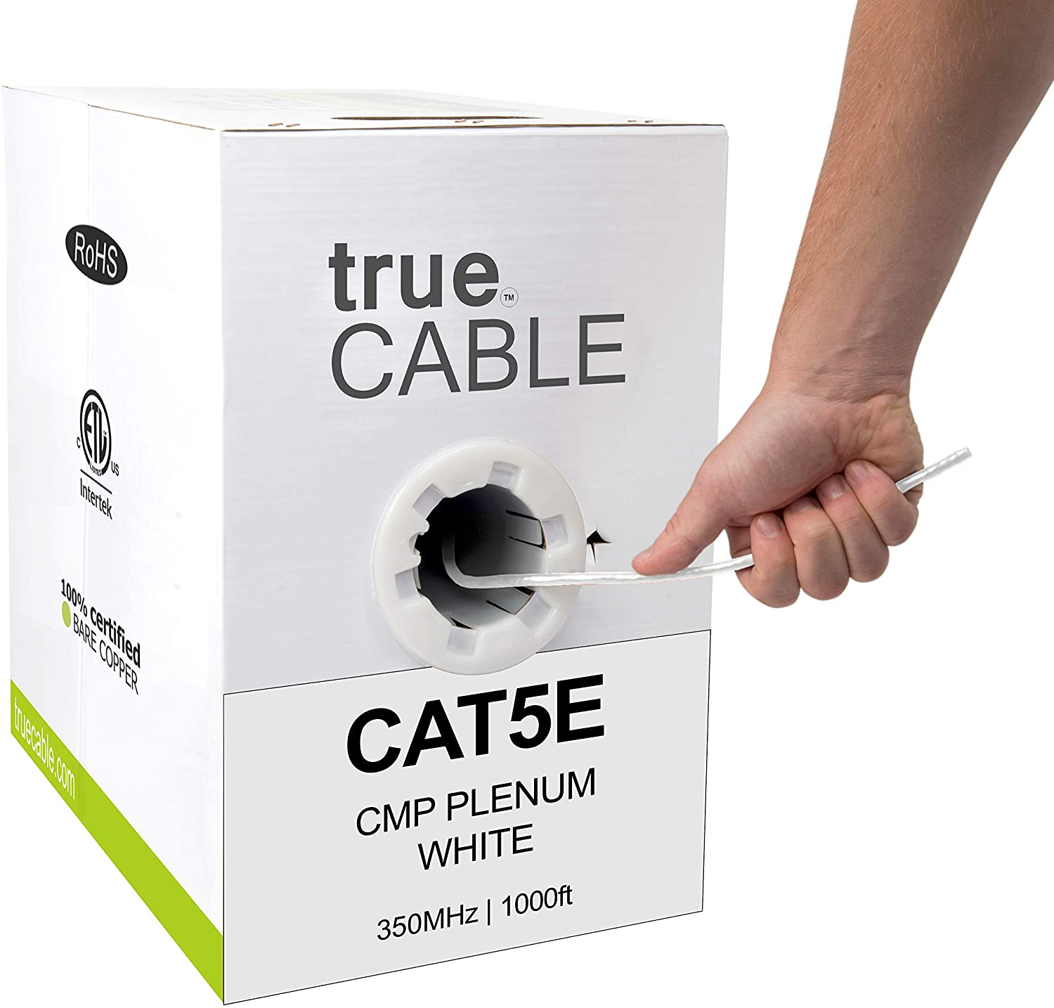 trueCABLE Cat5e Plenum (CMP), 1000ft, White, 24AWG 4 Pair Solid Bare Copper, 350MHz, ETL Listed, Unshielded Twisted Pair (UTP), Bulk Ethernet Cable