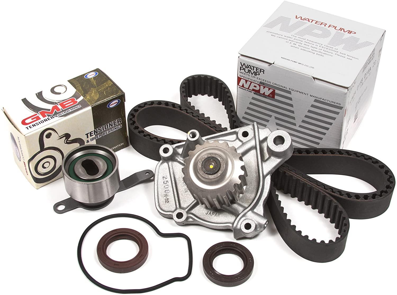 Evergreen TBK223WPN Compatible With 92-95 Honda Civic VX 1.5L SOHC D15Z1 Seals Timing Belt Kit NPW Water Pump