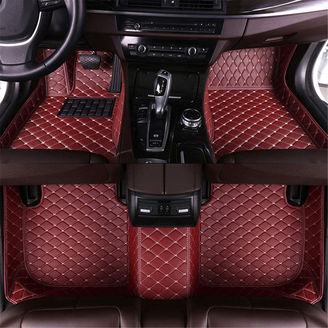 Jiahe Car Floor Mats for Honda Odyssey Ⅱ 2000-2003 Full Covered Advanced Performance Leather Carpet Auto All Weather Protection Front & Rear Liner Set Red Wine