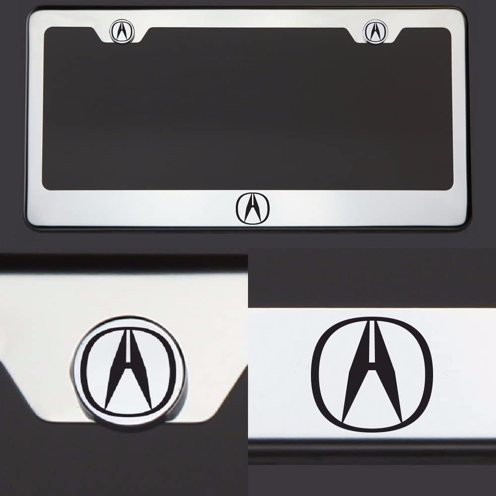 Circle Cool One Laser Engraved Black Fit Acura Logo Mirror Stainless Steel License Plate Frame Holder Front Or Rear Bracket Steel Screw Cap