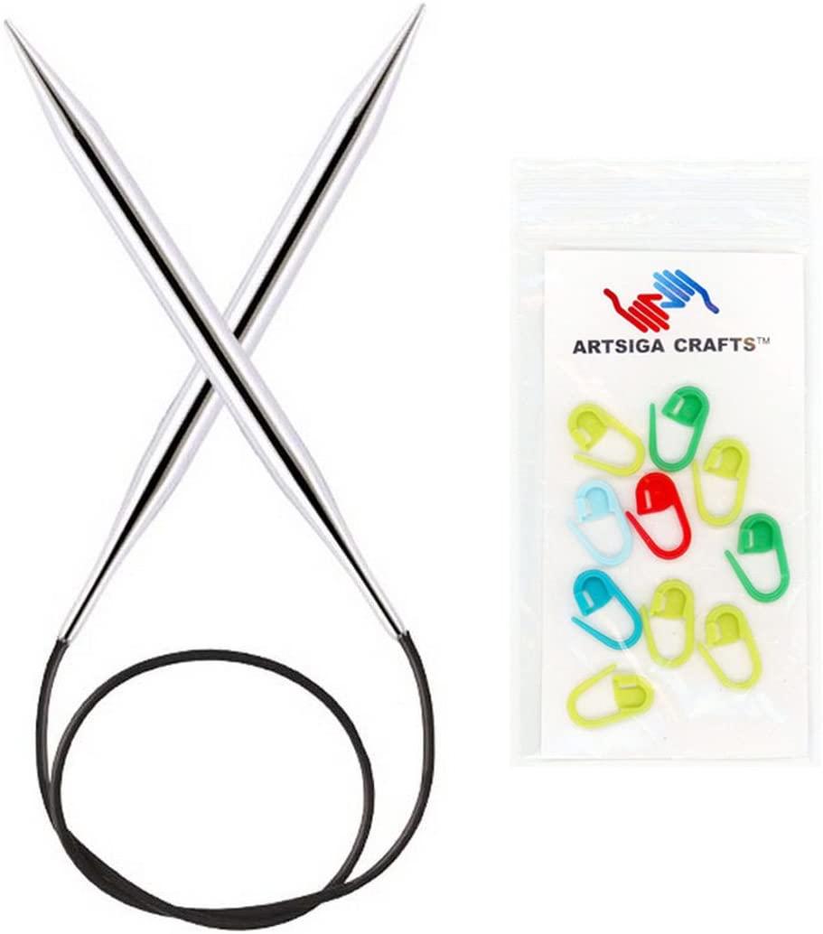 Knitter's Pride Knitting Needles Nova Platina Circular 40 inch (100cm) Size 6 (4.0mm) Bundle with 10 Artsiga Crafts Stitch Markers 120269