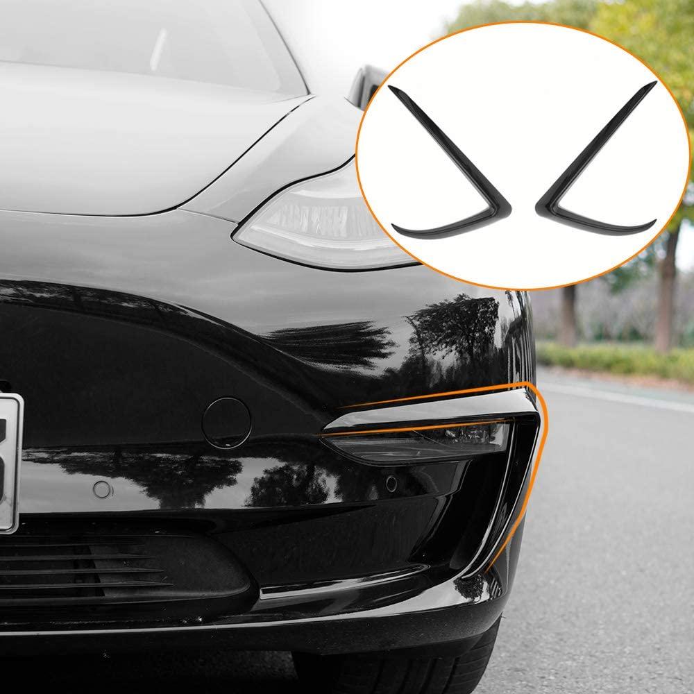 Fit Tesla Model 3 Fog Light Trim Front Fog Light Cover For Tesla Model 3 Accessories (Black)