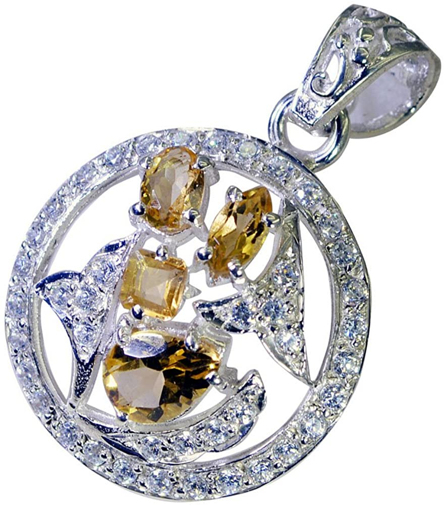 55Carat Natural Citrine Sterling Silver Charms for Women Pendant Chakra Healing Mixed Shape Necklace