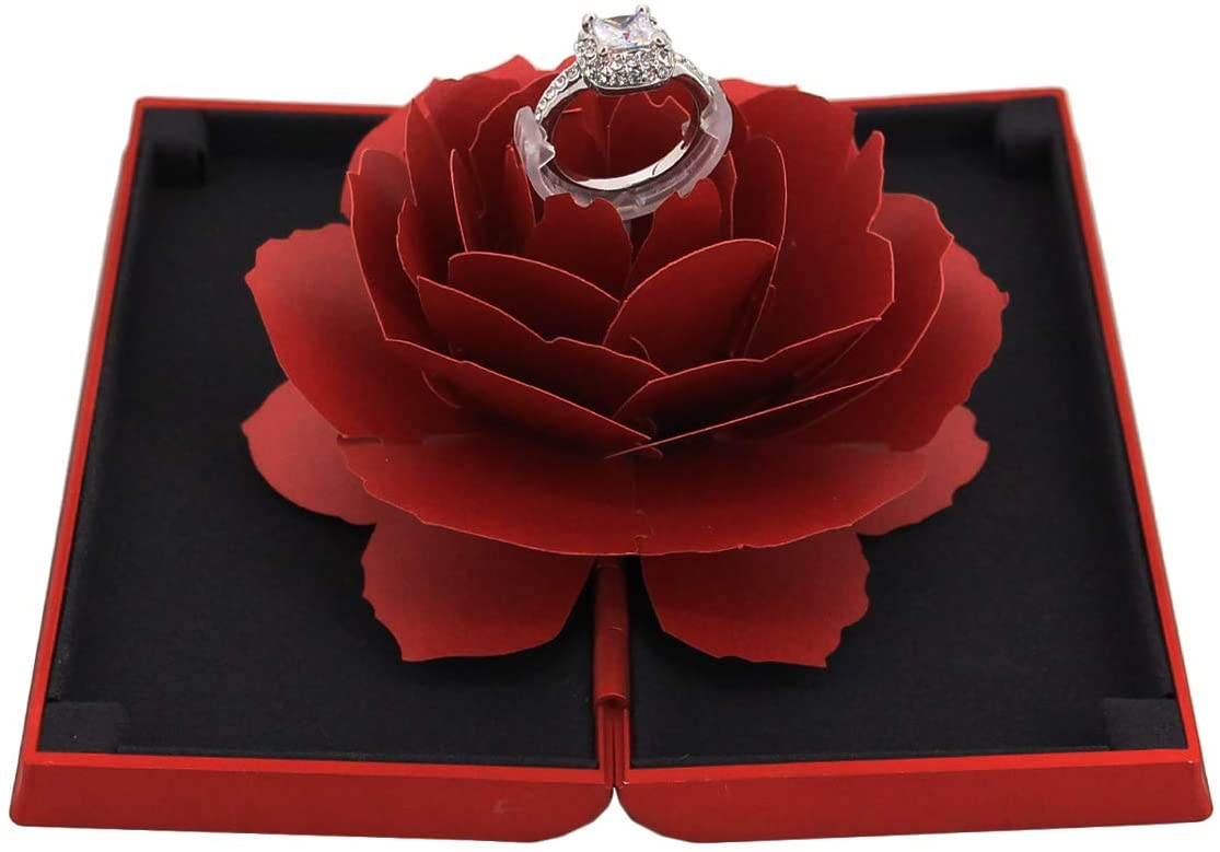 Rosee Box Creative Matte Velvet Ring Box for Proposal Engagement Wedding Ring Jewelry Gift Case(Red)