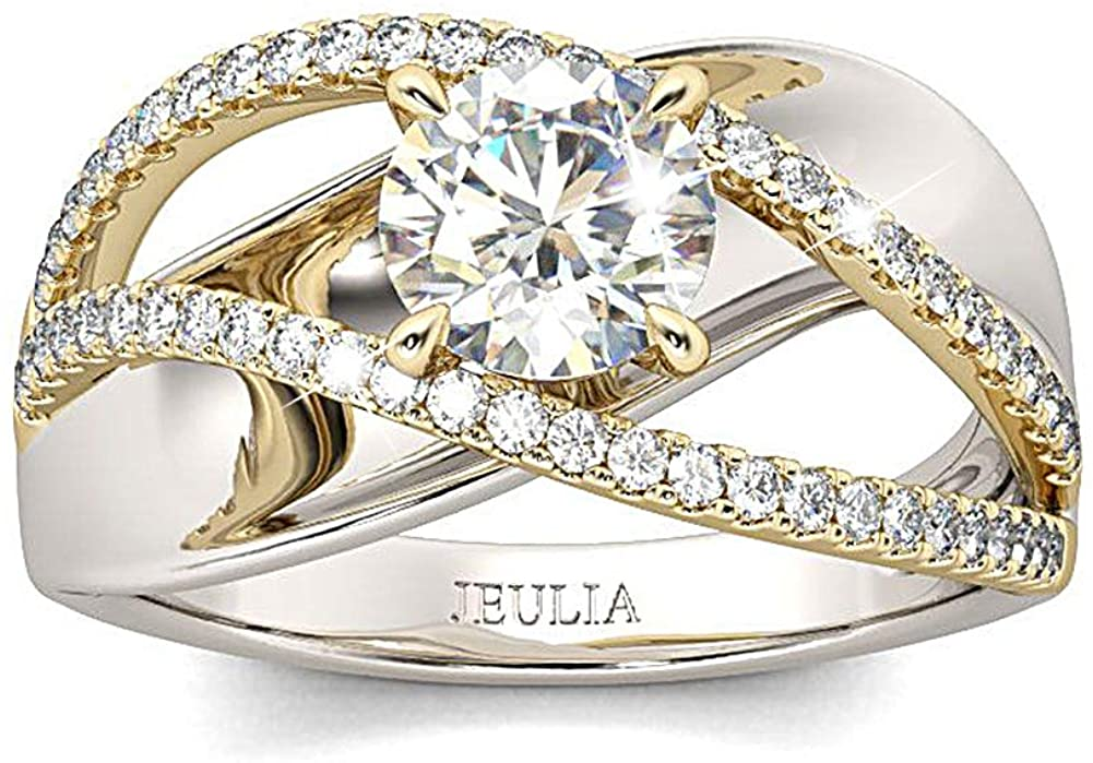 Jeulia Engagement Rings for Women Sterling Silver Two Tone Gold Bridal Sets Crossover Round Engagement Ring Sets Cubic Zirconia Anniverdary Promise with Jewelry Gift Box