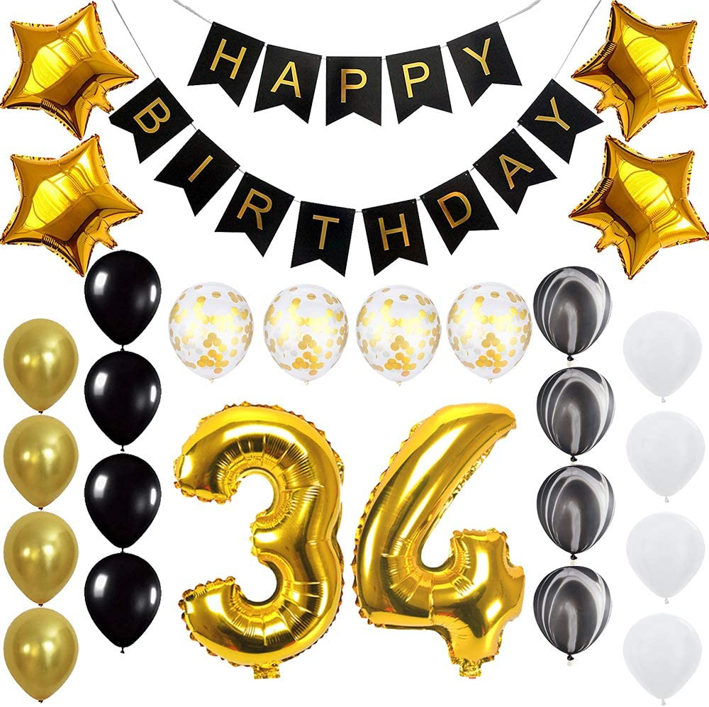 Happy 34th Birthday Banner Balloons Set for 34 Years Old Birthday Party Decoration Supplies Gold Black