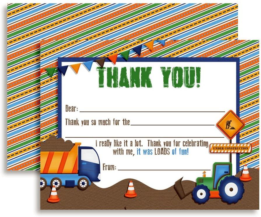 Digger, Dump Truck Construction Thank You Notes for Kids, Ten 4