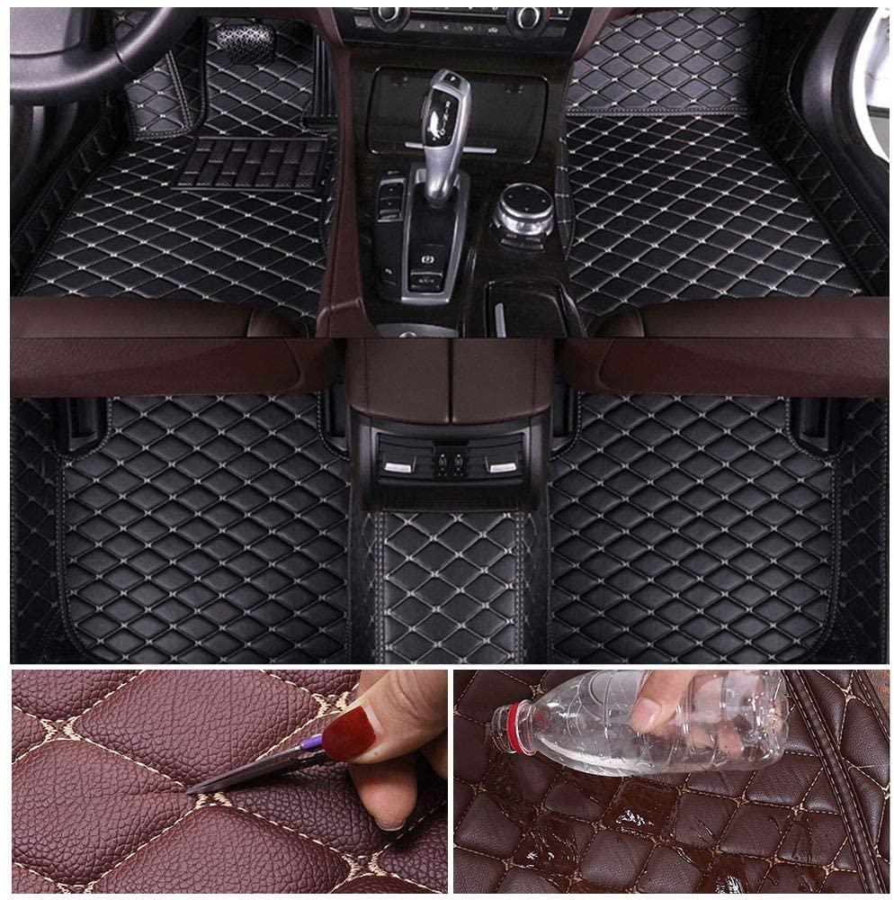 Custom Car Floor Mats for Hyundai Santa 5seat 2006-2015 Leather Custom Fit All-Weather Protection Floor Liners Waterproof Foot Pad Carpets Black-Beige