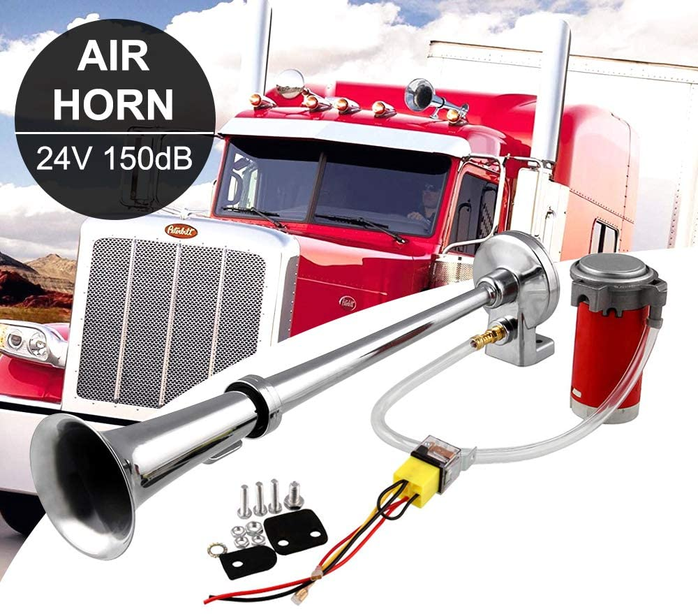 Ruien 150dB 24V Single Trumpet Air Horn with Compressor Super Loud for Trucks Lorrys Trains Boats Cars