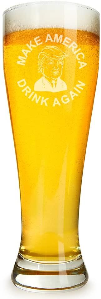 Trump Make America Drink Again Engraved 16 ounce Beer Glass Pilsner